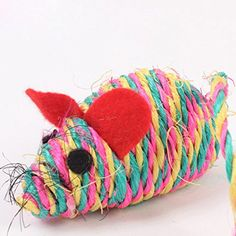 Catnip Toys Cat Toy Colorful Mouse Sound Toy Natural Sisal Rope Toy Random Color