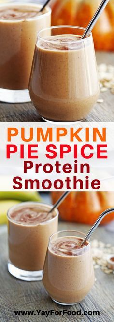 Creamy and delicious! This protein packed smoothie is fall-inspired with the warming flavours of pumpkin pie spice! It only has six ingredients and takes five minutes or less to make! beverages | smoothies | drinks | fall recipes | autumn | easy | fast |