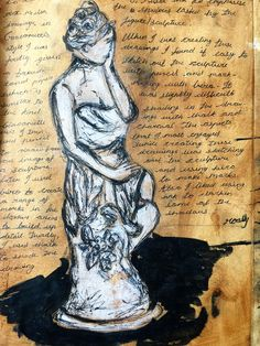 coffee stained paper - chalk and charcoal