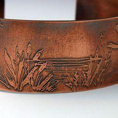 Pond Scene Cuff Bracelet Etched Copper by MetalworksJewelry, $38.00