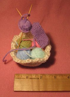 Crocheted Miniature Knitting Basket
