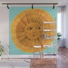 Sun Drawing Gold and Pink Wall Mural by sewzinski Door Murals, Bedroom Murals, Mural Wall Art, Baby Room Decor, Wall Decor, Sun Drawing, Sun Painting, Removable Wall Murals, Home Room Design