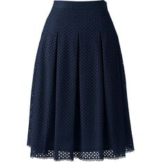 Lands' End Women's Petite Pleated Eyelet A-line Skirt ($79) ❤ liked on Polyvore featuring skirts, blue, a line skirt, petite skirts, pleated skirt, lands' end and knee length a line skirt