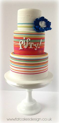 Retro fifties Gorgeous Cakes, Pretty Cakes, Amazing Cakes, Striped Cake, Cakes For Women, Dream Cake, Fancy Cakes, Love Cake, Sweet Cakes
