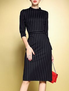 Black Work Zipper Stand Collar Stripes Sheath Midi Dress