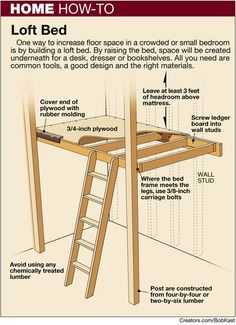 loft bed how-to -- Need to make this for Shayla's room. With a little reading nook underneath. loft bed how-to -- Need to make this for Shayla's room. With a little reading nook underneath. Mezzanine Design, Loft Design, Staircase Design, Design Design, Build A Loft Bed, Loft Bed Plans, Diy Bed Loft, Pallet Loft Bed, Loft Bunk Beds