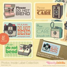 "Kitschy Digital's ""Photos Inside"" Labels printable. Great for photographers, Etsy sellers, shop owners, vintage camera lovers and more."