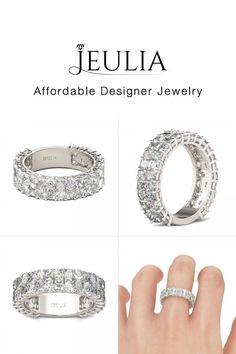 Round and Radiant Cut Created White Sapphire Women's Wedding Band - Jeulia Jewelry