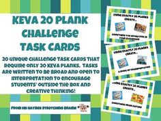20 unique challenge task cards that require only 20 KEVA planks, which allows more students to be able to use the cards without needed a huge number of planks. Tasks are perfect for when students finish early, for morning work, during indoor recess, at a center, in a makerspace, or Math Challenge, Plank Challenge, Elementary School Library, Indoor Recess, Math Work, Math Concepts, Morning Work, Task Cards, Planks