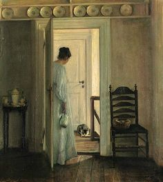 Carl Holsoe (Danish, 1863-1935) | The Saucer of Milk | Late 19th-early 20th century.