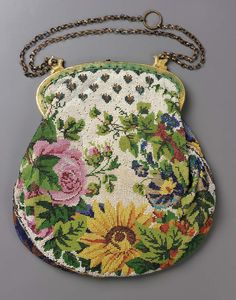 Western European 1820–50 Bag. Beadwork on cotton foundation. Polychrome design on white ground: flower basket with neo-classic border (obv.); floral motifs (rev.). Yellow metalic frame with vining motif, stud closure, griffins hold chain. Blue silk lining. | Museum of Fine Arts, Boston