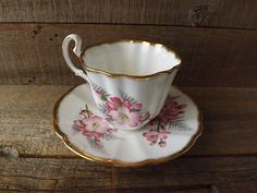 Adderly Bone China Teacup and Saucer Made in by purplepansyvintage