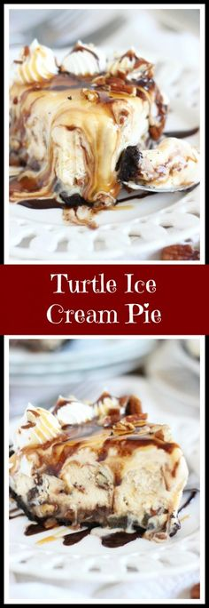 Layers of turtle ice cream, chocolate fudge sauce, caramel sauce, and pecans, in a chocolate cookie crust. #MayfieldFamily #ad