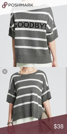 """Banana Republic Intarsia Striped Sweater size M Banana Republic Intarsia Striped Cotton Sweater size M.  """"Goodbye"""" graphic on back. Rounded neckline. Draped elbow length sleeves. Drop shoulder styling. Vented hem. Worn once - pristine condition! Banana Republic Sweaters"""