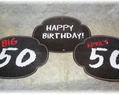 10 x Happy 50th Birthday, Birthday Signs, Birthday Parties, 50th Birthday Decorations, Vinyl Gifts, Diy Chalkboard, Party Signs, Custom Stickers, Party Time