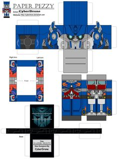 My Paper Pezzy Papercraft of Optimus Prime from the Transformers 'Live Action Movies) All of the Paper Pezzy Templates are Glue together Papercrafts. ==Glue the white tabs only.== (All My Custom Fa...