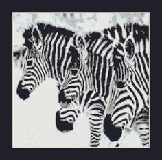 Zebras In The Winter Counted Cross Stitch by InstantCrossStitch