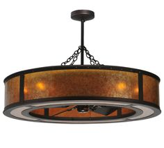 Smythe Craftsman 'Chandel-Air' pendant / ceiling fan fixture with oil rubbed bronze finish and amber mica shade (via Meyda Lighting)