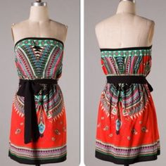 """BOHO BELTED DRESS Tomato red boho/tribal tube dress with black belt that ties at the waist. 100% rayon. Measures approximately 25.5"""" from underarm. Purchased from another posher. Only worn once! No trades, PayPal, or low ball offers! I accept reasonable offers and offer discounted bundles!  Boutique Dresses"""