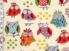 Owl fabric hippie red purple retro kawaii from Brick House Fabric: Novelty Fabric Novelty Fabric, Retro Fabric, Purple Line, Red Purple, Camper Interior Design, Small Owl, Owl Fabric, Thing 1, Ceramic Owl
