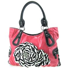 Roomy Hot Pink Raised 3d Zebra Print Flower Purse Handbag
