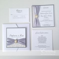 Grey Wedding Invitations | The Ariel Collection - Pocketfold Invite and Luxury Flat Postcard Invitation | Featuring white pebble paper, silver grey ribbon and pearl diamante teardrop embellishment | Luxury handmade wedding invitations and stationery #byenchanting