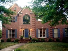 Decorating: Beautiful Paint Exterior Color For House With Red Bricks For Big House Using Blue Color For The Door And The Windows, Blue House with Red Brick, Exterior House Colors with Red Brick Brick House Trim, Brown Brick Houses, Brick House Colors, House Exterior Color Schemes, Red Brick Walls, Exterior Paint Colors, Exterior Design, Paint Colours, Brick Cottage