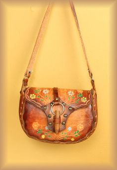 70's. My husband made me one almost exactly like this!  They came in precut kits from Tandy. Wish I knew what happened to mine. Tooled Leather Purse, Leather Tooling, Leather Purses, Leather Bags, Painting Leather, Great Memories, My Childhood Memories, Vintage 70s, Vintage Avon