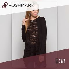 The Elaina Collection Long Sleeve Lace Black Tunic Anything but basic! This black tunic can be paired with anything, a pencil skirt for work or patterned leggings for the weekend. It has a shark bite hem and lace contrast on the front and back. It is made of a cotton blend. NEW Boutique Tops Tunics