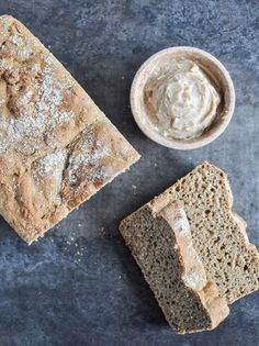 Whole Wheat Pumpkin Spice English Muffin Bread with Brown Sugar Cinnamon Butter