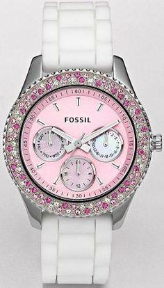 New Womens Fossil Stella Boyfriend Watch Pink Face White Silicon Band ES2895 | eBay