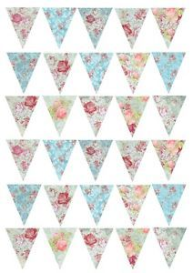 30 Vintage Shabby Chic Floral Bunting #3 Cake/Cupcake Rice Paper Toppers | eBay