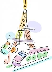 French Food   French Food With the Eiffel Tower - Royalty Free Clipart Picture