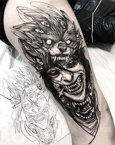 Tattoo models and designs artist IG: . by - artist - Tattoo models and designs artist IG: Fredão Oliveira - Kunst Tattoos, Irezumi Tattoos, Body Art Tattoos, Sleeve Tattoos, Scary Tattoos, Wolf Tattoos, Black Tattoos, Tattoos Masculinas, Awesome Tattoos