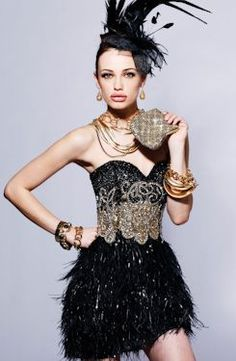 vintage inspiration, feathered skirt, sequined bodice :)