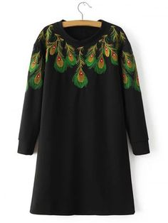 GET $50 NOW | Join RoseGal: Get YOUR $50 NOW!http://www.rosegal.com/long-sleeve-dresses/loose-peacock-feather-embroidered-sweatshirt-751564.html?seid=7121433rg751564
