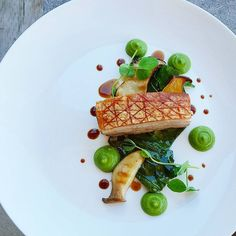 Roast pork belly, kale,ginger and shisito pepper and edamame puree