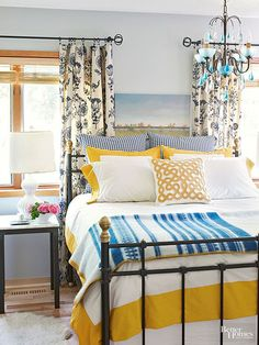If you're the type who needs a couple cups of joe before you're fully awake, a bedroom of invigorating brights might help you wake up with a little more vigor. Sunny yellow and punchy blue are a much kinder wake-up call than an alarm clock, but really, any bright, contrasting hues will do the trick.