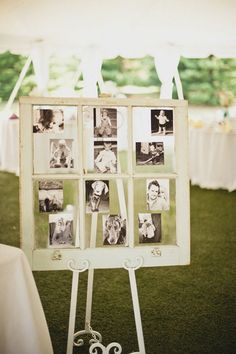 old window and family photos wedding decor / http://www.himisspuff.com/ideas-to-display-wedding-photos/2/