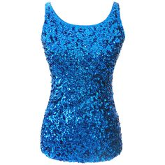 Blue Slimming Ladies Crew Neck Sleeveless Sequined Tank Top ($14) ❤ liked on Polyvore featuring tops, blue, slimming tank, blue tank top, sequin tank, sequin top and sleeveless tank tops
