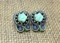 Green and Grey Soutache Stud Flower Earrings by RestlessArtMpls, $20.00