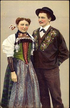 Ansichtskarte / Postkarte Schweiz, Junges Paar in der Tracht von Nidwalden