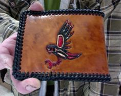 Mens  Wallet / Leather / Owl / Killer Whale / Indian / Hand Carved and Tooled / Alaskan, Totem Design's / Bi Fold / Custom / Whale / Man