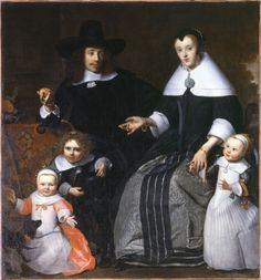 Cornélius Bisschop (attr. à), Dordrecht, 1630-1674. Portrait de famille, vers 1660. Huile sur toile. Legs de M. et Mme Marchand-Raffaintin en 1983.