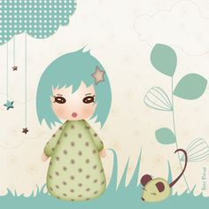 Stickers - Sweet Fabrique - Badge Kiwi Doll - Floral Dream