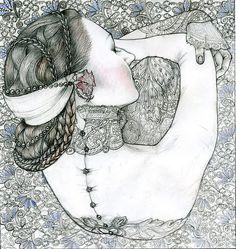 The collar reminds me of Moulin Rouge... November | Masha Kurbatova #illustration