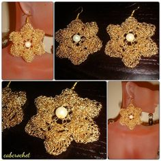 Crochet flower earrings by cabcrochet on Etsy, $24.00 www.facebook.com/cabcrochet