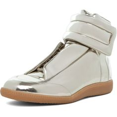 Maison Martin Margiela Hi Top Sneaker in Gold ($695) ❤ liked on Polyvore