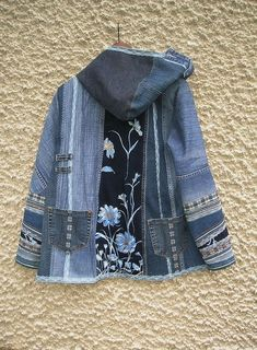 Hooded Jacket Upcycled Clothing by EcoClo Denim Collection image 4 Outfit Jeans, Denim Outfits, Diy Jeans, Lined Denim Jacket, Denim Coat, Altered Couture, Denim Mantel, T Shirt Remake, Jean Diy