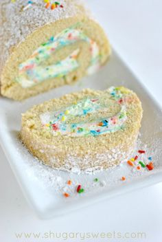 Vanilla Funfetti Cake Roll: delicious vanilla sponge cake with homemade funfetti whipped cream filling. Perfect for a rainbow-themed party!